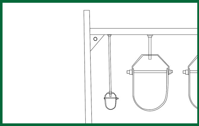 Attached M.E.P. Frame for roof pipe securement